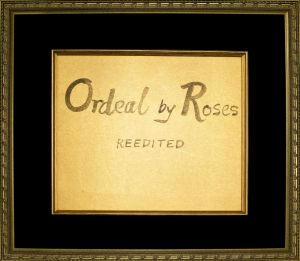 「Ordeal by Roses REEDITED」/三島由紀夫(Handwritten title letter for
